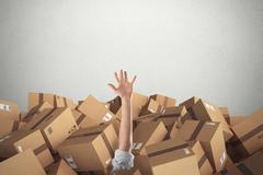 Man buried by a stack  of cardboard boxes. 3D Renderin Stock Photos