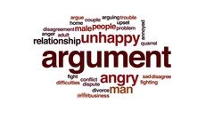 Argument animated word cloud, text design animation. Stock Footage