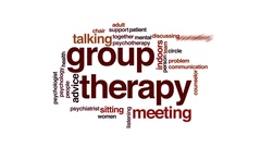 Group therapy animated word cloud, text design animation. Stock Footage
