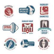 Orthopedics and radiology clinic medical badge set Stock Illustration