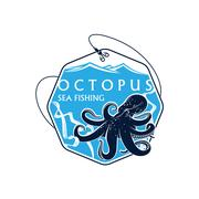 Sea fishing vector icon of octopus and fish rod Stock Illustration
