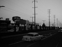 Driving Santa Monica Blvd - Ranch House Restaurant - Beverly Hills 1950s Stock Footage