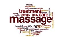 Massage animated word cloud, text design animation. Stock Footage