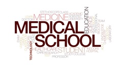Medical school animated word cloud, text animation. Kinetic typography. Stock Footage