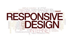 Responsive design animated word cloud, text animation. Kinetic typography Stock Footage