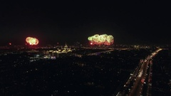 Festive fireworks in night Moscow on Victory Day Stock Footage