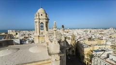 View from bell tower of Cadiz Cathedral Stock Footage