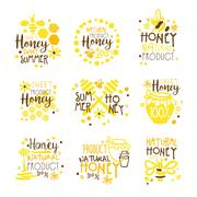 Natural Honey Products 100 Percent Organic Set Of Colorful Promo Sign Design Piirros