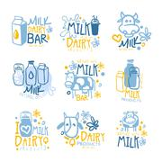 Natural Milk And Fresh Dairy Products Set Of Colorful Promo Sign Design Stock Illustration