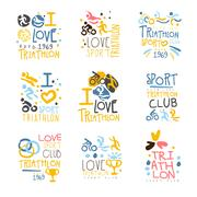 Triathlon Supporters And Fans Club For People That Love Sport Set Of Colorful Stock Illustration