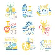 Running Supporters And Run Fans Club For People That Love Sport Set Of Colorful Stock Illustration