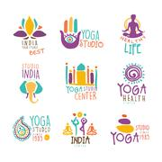 Yoga Center Set Of Colorful Promo Sign Design Templates With Different Indian Stock Illustration