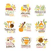 Touristic Travel Agency Set Of Colorful Promo Sign Design Templates With Stock Illustration