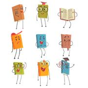 Cute Humanized Book Emoji Characters Representing Different Types Of Literature Stock Illustration