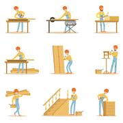 Professional Wood Jointer At Work Crafting Wooden Furniture And Other Piirros