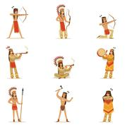 Native American Tribe Members In Traditional Indian Clothing With Weapons And Stock Illustration