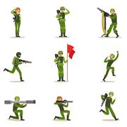 Infantry Soldiers In Full Military Khaki Uniform With Guns During War Operation Stock Illustration