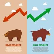 Bull and bear symbol of stock market infographic Stock Illustration