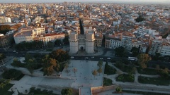 Aerial shot of Valencia with Serranos Towers, Spain Stock Footage
