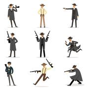American Mafia Mob Members Of 30s Set Of Cartoon Criminal Mobster Characters Stock Illustration
