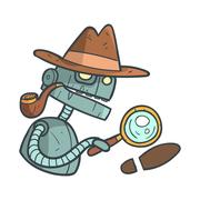 Private Detective Blue Robot With Magnifying Glass And Pipe Cartoon Outlined Stock Illustration