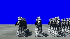 Space Opera: Marching Troopers (Blue Screen, from Side) Stock Footage