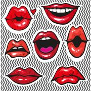 Fashion patch badges with lips pop art Stock Illustration