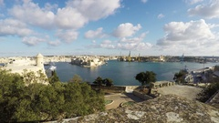 Three Cities as seen from Valletta, Vittoriosa, Senglea, Cospicua, Malta Stock Footage