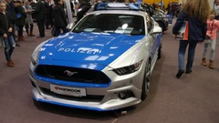 Ford Mustang german police car edition exhibition at Hannover ABF fair Stock Footage
