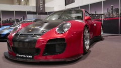 Red Porsche GT racing car exhibition at fair Hannover Messe ABF Stock Footage