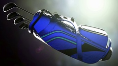 Golf putter in a golf bag on bokeh background with light Stock Footage