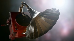 Vintage Gramophone rotate on bokeh background with light Stock Footage