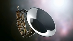French horn rotate on bokeh background with light Stock Footage