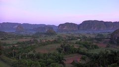 Fog over Vinales Valley (Valle de Viñales) at early morning. Pinar del Rio Stock Footage