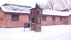 Guard booth at Auschwitz Birkenau, former German Nazi concentration and Stock Footage