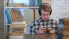 Male student during online learning course Stock Footage