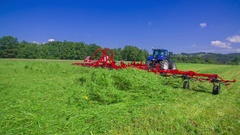 Using a big machinery to cut grass Stock Footage