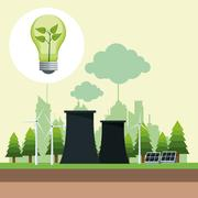 Bubl ecology with nuclear power energy and solar panel Piirros