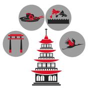 Pagoda traditional building japanese architecture emblem icons Stock Illustration