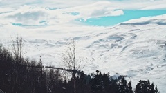 Aerial view. Winter snow landscape on the plateau Stock Footage