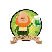 Leprechaun drinking beer celebration emblem sticker Stock Illustration