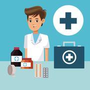 Paramedic people cross medicine healthcare Stock Illustration