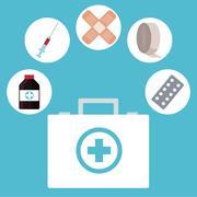 Kit first aid medicine medical icons Stock Illustration