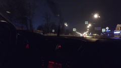 Car Driving On Highway At Night Winter Stock Footage