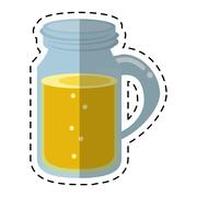 Glass jar drink tasty bubble with cap - dot line Stock Illustration