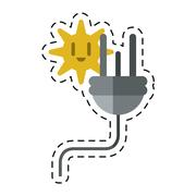 Electric cable plug energy icon -cut line Stock Illustration