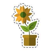 Flower pot leaves garden nature -cut line Stock Illustration