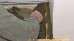 Plasterer working with cement and trowel Stock Footage