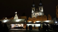 Detailed bell towers of Our Lady cathedral in Prague, Czech Republic Stock Footage