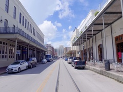 Driving through the strand in Galveston Texas Stock Footage
